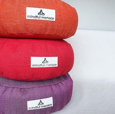 Sustainably and ethically handmade in Ireland by the Mindful Menace using deadstock upholstery fabrics and organic buckwheat hulls. These durable cushions are made to last. Free Worldwide shipping Meditation Cushion, Meditation Space, Fabric Tote Bags, Yoga Mat Bag, Sustainable Fabrics, Silk Pillow, Upholstery Fabrics, Buckwheat, Ireland