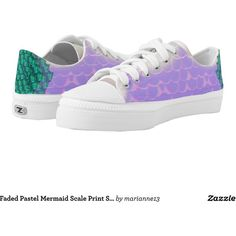 Faded Pastel Mermaid Scale Print Skate Shoe Printed Shoes (3,170 THB) ❤ liked on Polyvore featuring shoes, sneakers, print shoes, pastel shoes, print sneakers, pastel sneakers and patterned shoes
