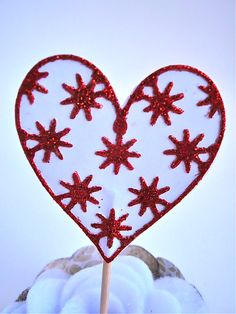 Set Of Twelve Red Glitter Lace Overlay Heart by TweedleDDesigns, $8.00