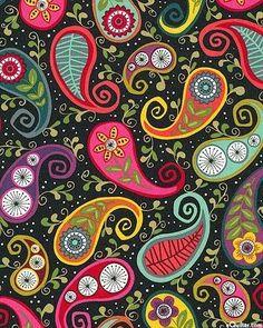 இڿڰۣ-ڰۣ— ❀ ✿Bright Folk Paisley on Black Paisley Art, Paisley Design, Paisley Pattern, Paisley Drawing, Mandala Art, Textures Patterns, Print Patterns, Foto Transfer, Wow Art