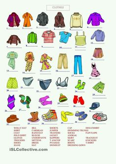 A collection of English ESL Clothes, fashion worksheets for home learning, online practice, distance learning and English classes to teach about Kids English, English Study, English Words, English Lessons, English Grammar, Learn English, English Language, Vocabulary Worksheets, English Vocabulary