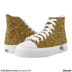Gold glitter pattern printed shoes