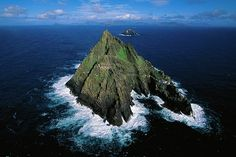 An aerial view of Skellig Michael with Little Skellig in the distance.
