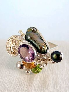 One of a Kind Handmade Gregory Pyra Piro Cyber Ring in Sterling Silver and 14…