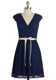 Champagne at Midnight Dress in Navy. Public speaking is no problem for you, and as you rise to toast your BFF at her rehearsal dinner, youre bolstered by the buoyant feeling of this truly elegant dress, which is available for purchase in July! #blue #modcloth