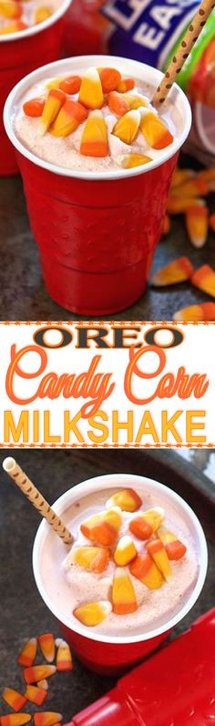 Oreo Candy Corn Milkshake Recipe ❤︎ INGREDIENTS:  2 cups quality vanilla ice cream, 6 Candy Corn Oreos, 2/3 cup milk DIRECTIONS: In the pitcher of a blender, combine ice cream, Oreos and milk; blend until smooth. If desired, top with whipped cream and Halloween sprinkles. Yumm!