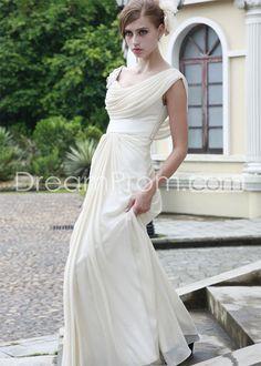 Cheap Fantastic A-Line Drapped-Neckline Brush Train Evening/Prom Dresses, elegant evening dresses, long prom dresses