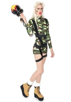 Goin Commando Costume Army Girl Costumes, Punk Rock Outfits, Sexy Halloween Costumes, Skin Tight, Zip Ups, Tights, Rompers, Long Sleeve, Sleeves