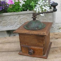 """French Vintage Coffee Grinder--well, mine says """"Made in Italy"""". Fill in with autumn leaves and use for fall and winter mantle decorations"""