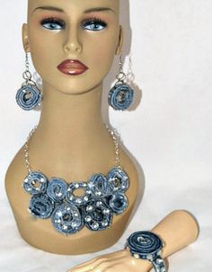 Denim Jewelry, Denim Statement Necklace, Up Cycled Denim, Blue Jeans Necklace, Shabby Chic Denim Accessories
