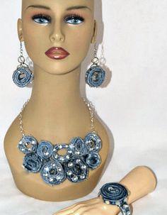Denim Jewelry, Denim Statement Necklace, Up Cycled Denim, Blue Jeans Necklace, Shabby Chic Denim Accessories