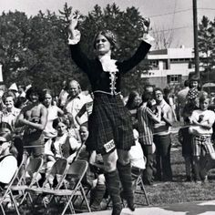 Contestant 685 performs a highland dance in the 1973 Highland Festival and Games. Alma College - Michigan