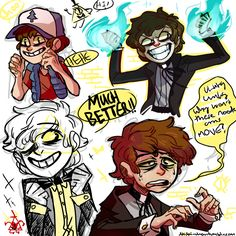 "artsycrapfromsai: "" bipper doodles & sketches i bet bill was disappointed when he found out priests didn't wear bowties """