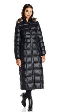 Long Maxi Down Coat with Faux-Fur Ruff - BCBGeneration Women's Long Maxi Down Coat with Faux-Fur Ruff Maxi-length quilted down coat featuring hood with faux-fur ruff and zippered side pockets  Link    #fashion #women #womenfashion