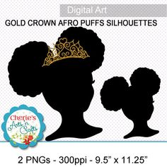 Afro Puffs Little Girl With Gold Crown by CheriesArtsnCrafts