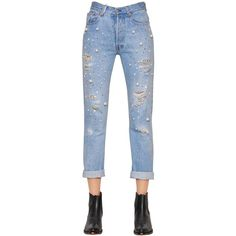 Forte Couture Women Embellished Cotton Denim Boyfriend Jeans (12.720 CZK) ❤ liked on Polyvore featuring jeans, blue, blue ripped jeans, torn jeans, ripped jeans, distressing jeans and chain jeans