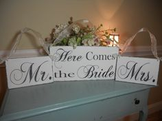 Reversible Wedding sign...here comes the by 2chicsthatbelieve, $75.95