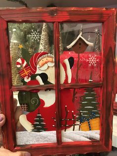 Glass-Paint old windows— or maybe just put the frame over Christmas wrapping paper, cards, calendar art, or other images 50 Diy Christmas Ornaments, Frugal Christmas, Christmas Origami, Christmas Wreaths To Make, Christmas Frames, Christmas Flowers, Christmas Wood, Xmas Crafts, Christmas Decorations