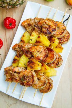 Grilled Jerk Shrimp and Pineapple Skewers - 16 Zesty Grilled Shrimp Recipes | GleamItUp