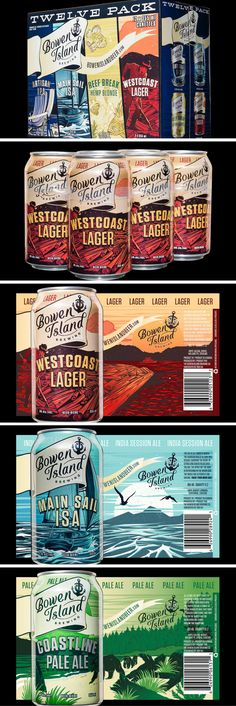 Bowen Island Beer packaging by Hired Guns Creative