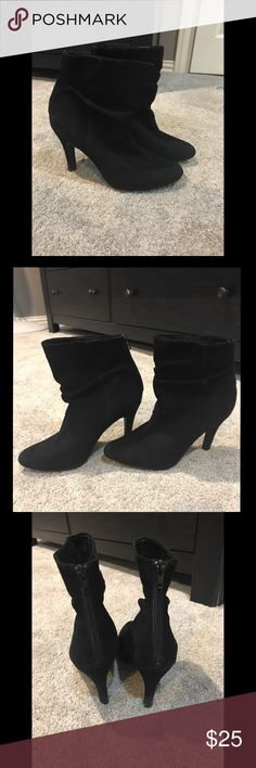 PERFECT AUDREY BROOKE BLACK SUEDE LEATHER BOOTIES AUDREY BROOKE WOMENS BLACK SUEDE LEATHER ANKLE BOOTS ZIP BACK Heel Height 3.5in suede leather  stiletto heel Audrey Brooke Shoes Ankle Boots & Booties