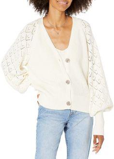 The Drop Women's Divya Pointelle Full Sleeve Cardigan Sweater