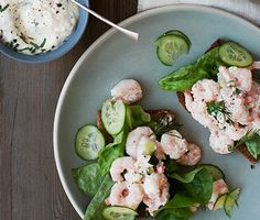 Shrimp and Cucumber Salad with Horseradish Mayo Recipe - Bon Appétit Shrimp Salad, Cucumber Salad, Salad Recipes, Healthy Recipes, Paleo Ideas, Cucumber Recipes, Lunch Recipes, Summer Recipes, Cooking