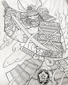 Japanese Tatoo, Japanese Drawings, Japanese Sleeve Tattoos, Japanese Dragon, Samurai Warrior Tattoo, Warrior Tattoos, Demon Tattoo, Samurai Drawing, Samurai Artwork