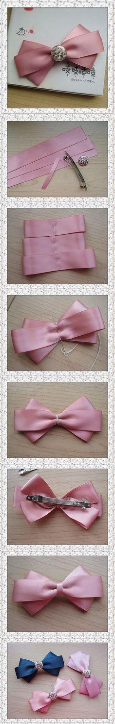 粉色公主蝴蝶结发夹做法~~