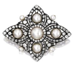A diamond and natural pearl brooch, Queen Elizabeth II has a brooch very similar to this. A gold, silver, pearl and diamond br. Gems Jewelry, Pearl Jewelry, Antique Jewelry, Silver Jewelry, Vintage Jewelry, Fine Jewelry, Jewelry Box, Jewellery, Diamond Brooch
