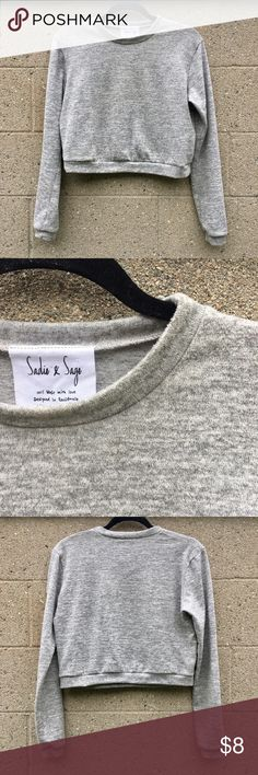 Cropped Mock Neck Lightweight Sweater Gray color. Great condition. Mini mock neck. Long sleeve. Slightly cropped. Sadie & Sage Sweaters