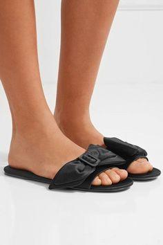 Prada - Bow-embellished Satin Slides - Black - IT37.5