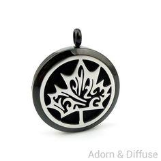 Maple Cutout Leaf Diffuser Locket Necklace ~ Black
