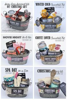 Gift in a Tin: Christmas Baking Kit DIY Gift Basket Ideas : for Spa Day , Coffee Lovers, Winter Christmas & Movie Night.)DIY Gift Basket Ideas : for Spa Day , Coffee Lovers, Winter Christmas & Movie Night. Creative Gifts, Cool Gifts, Creative Christmas Gifts, Handmade Christmas Gifts, Cheap Gifts, Awesome Gifts, Personalized Christmas Gifts, Handmade Gifts, 10 Secret Santa Gifts
