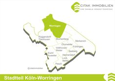 Stadtteil Köln-Worringen Der linksrheinische Stadtteil Worringen liegt im Bezirk Chorweiler. Seine Nachbarstadtteile sind Blumenberg im Süden, Fühlingen und Merkenich im Südosten und Roggendorf/Thenhoven im Südwesten. Im Norden grenzt Worringen an die Stadt Dormagen, im Osten wird es vom Rhein begrenzt. Diese direkte Lage am Rhein, mit dem Naherholungsgebiet Rheinauen, macht Worringen zu einem besonderen Stadtteil.