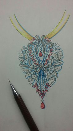 Art of jewellery..... Gems Jewelry, Jewelry Art, Diamond Jewelry, Pendant Set, Diamond Pendant, Gents Ring, Jewelry Design Drawing, Jewellery Sketches, Motif Design