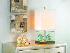 Fillable Glass Block Table Lamp | Lighting & Interior Design Ideas Blog Fillable Lamp, Block Table, Glass Blocks, Table Lamp, Decorating Ideas, Decor Ideas, Design Ideas, Lamp Ideas, Atrium