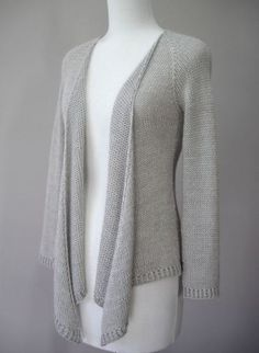 Hamlin Peak Cardigan knitting pattern with a lovely draped front. This and more cardigan sweater knitting patterns
