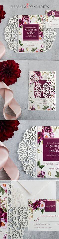 Classic boho burgundy watercolor floral garden wedding invitation EWDK001 #weddinginvitations  #rusticinvitations