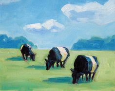 Cow Art tulips Belted galloways belties yellow by RisingStarArt