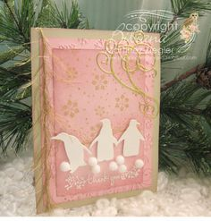 Stamping with Bibiana: A Winter Thank You Card... Uses Memory Box Penguins and Elegant Scrollwork dies