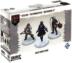 """Dust Tactics: Axis Hero Pack – """"Stefan / Totenmeister / Grenadier X"""" (expansion) 8.3 BGG rating."""