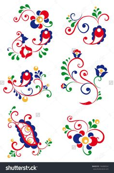Moravian Fotografie, snímky a obrázky Folk Embroidery, Embroidery Stitches, Embroidery Patterns, Folk Art Flowers, Flower Art, Bordado Popular, Polish Folk Art, Scandinavian Folk Art, Applique Quilts