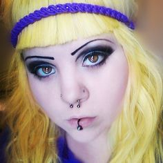 yellow hair (the color of a baby chick) with blunt bangs