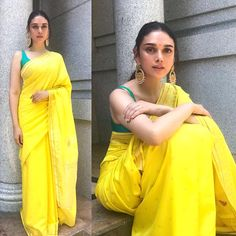 Best Contrast Blouse Ideas To Try With Yellow Saree.' In Pic: Aditi Rao Hydari in yellow with green saree blouse. Blouse Back Neck Designs, Saree Blouse Designs, Blouse Patterns, Indian Dresses, Indian Outfits, Pakistani Outfits, Mehendi Outfits, Look Fashion, Indian Fashion
