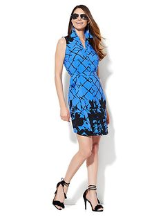 Belted Sleeveless Soho Shirt Dress - Floral/Graphic  - New York & Company