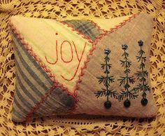 Primitive Rustic Folk Art Christmas Tree Joy Pillow From Vintage Crazy Quilt #NaivePrimitive #seller