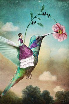 The Hummingbird Art Print by Catrin Welz-stein - X-Small Fantasy Paintings, Fantasy Art, Art Paintings, Canvas Art Prints, Framed Art Prints, Hummingbird Art, Surrealism Painting, Whimsical Art, Surreal Art