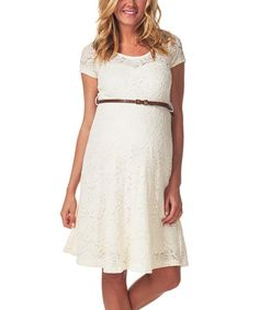 Another great find on #zulily! PinkBlush Ivory Lace Belted Maternity Empire-Waist Dress #zulilyfinds