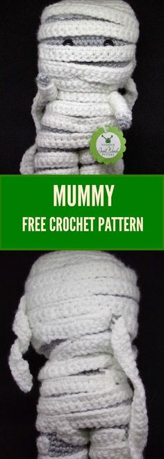 Sewing Stuffed Animals Crochet your own mummy. - Crochet your own super cute mummy plush. Crochet Gratis, Crochet Amigurumi Free Patterns, Crochet Blanket Patterns, Crochet Toys, Knitting Patterns, Crochet Fall, Holiday Crochet, Cute Crochet, Crotchet